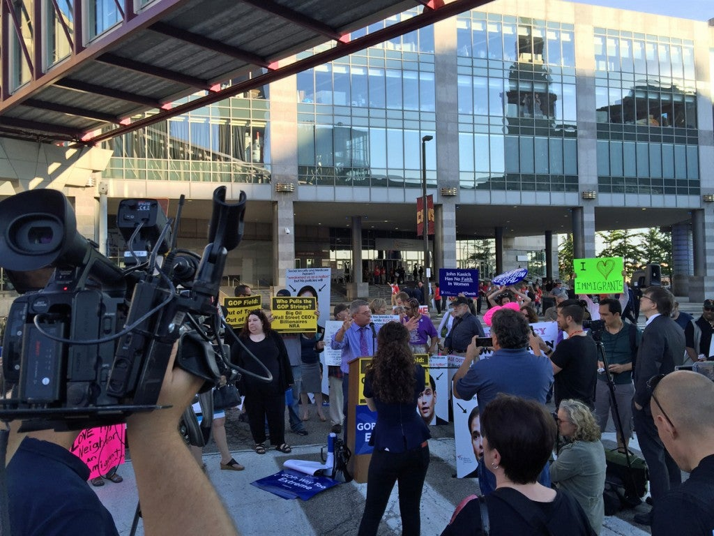 Anti-Republican protesters staged a rally before Thursday's Republican debate. (Photo: Rob Bluey/The Daily Signal)