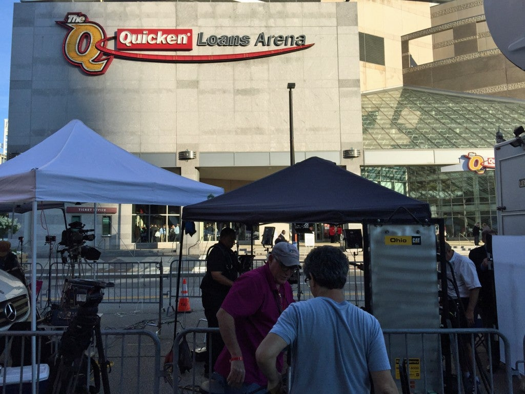 TV networks broadcasted live from outside the Quicken Loans Arena. (Photo: Rob Bluey/The Daily Signal)