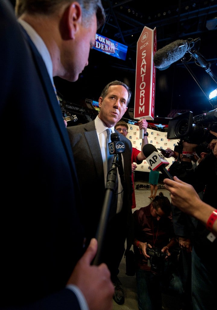 Candidates, including former Sen. Rick Santorum of Pennsylvania, use the media spin room following the first presidential debate. (Photo: Brian Cahn/ZUMA Press/Newscom)