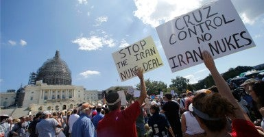 "Activists gather at a Capitol Hill rally to ""Stop the Iran Nuclear Deal"" in Washington September 9, 2015. (Jonathan Ernst/Reuters/Newscom)"