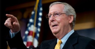 Senate Majority Leader Mitch McConnell said the debate over federal funding for Planned Parenthood would not lead to a government shutdown in the fall. (Photo: Tom Williams/CQ Roll Call/Newscom)