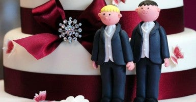 Jack Phillips must design cakes like this one, for a same-sex wedding in London , a Colorado court rules. (Photo: Rui Vieira/Zuma Press/Newscom)