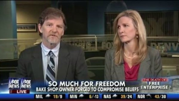 "Jack Phillips and lawyer Nicole Martin in a December 2013 appearance on ""Fox & Friends."" (Photo: Fox News Channel)"