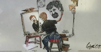 A drawing of cake designer Jack Phillips by his daughter, Lisa, inspired by a famous Norman Rockwell self-portrait.  (Photo courtesy Masterpiece Cakeshop)