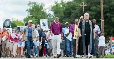 Marchers walk in an annual pilgrimage in Hayneville, Ala., in honor of Jonathan Daniels. (Photo: Grace Episcopal Church/ Facebook)