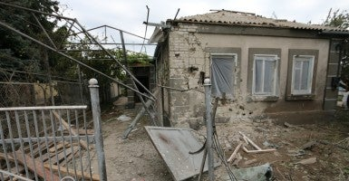 Artillery damage in Sartana, Ukraine. The attack, which comprised 122-mm and 152-mm artillery, lasted for 25 minutes. (Photo: Nolan Peterson/The Daily Signal)