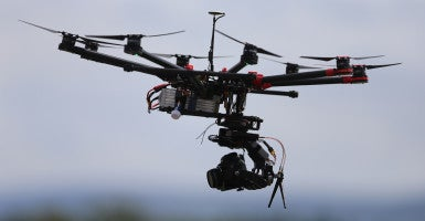 An Octocopter type drone is launched at the inaugural Unmanned Aircraft Association of Ireland event in Dublin. (Photo: Niall Carson/ZUMA Press/Newscom)