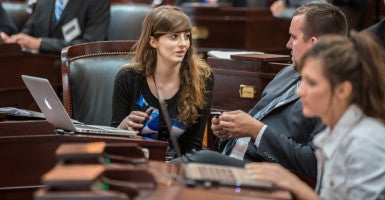 Rachel del Guidice, a senior at Franciscan University of Steubenville, participates in the Forge Leadership Network's summit at the Ohio Statehouse in Columbus. (Photo: Danny Woods/Woods Media Productions)