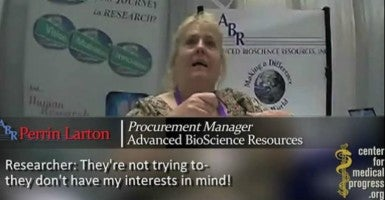 A new video depicts a conversation an actor portraying a potential buyer from a human biologics company had with Perrin Larton, the procurement manager for Advanced Bioscience Resources. (Photo: The Center for Medical Progress)