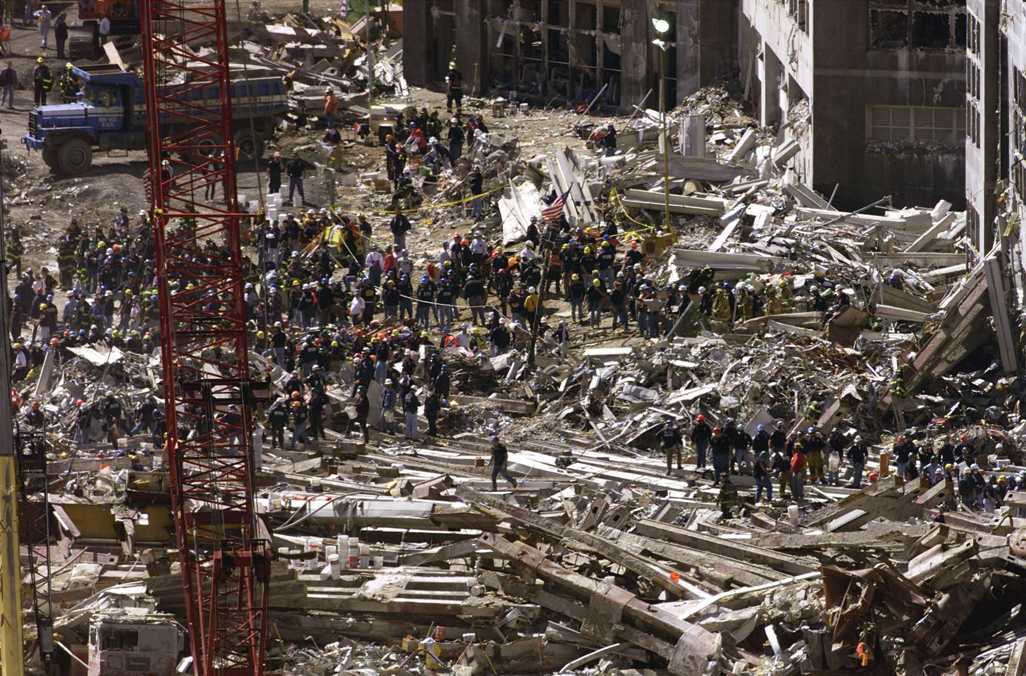 22 photos of 11 and the days after rescue workers continue their search for survivors on the rubble of the destroyed world trade center