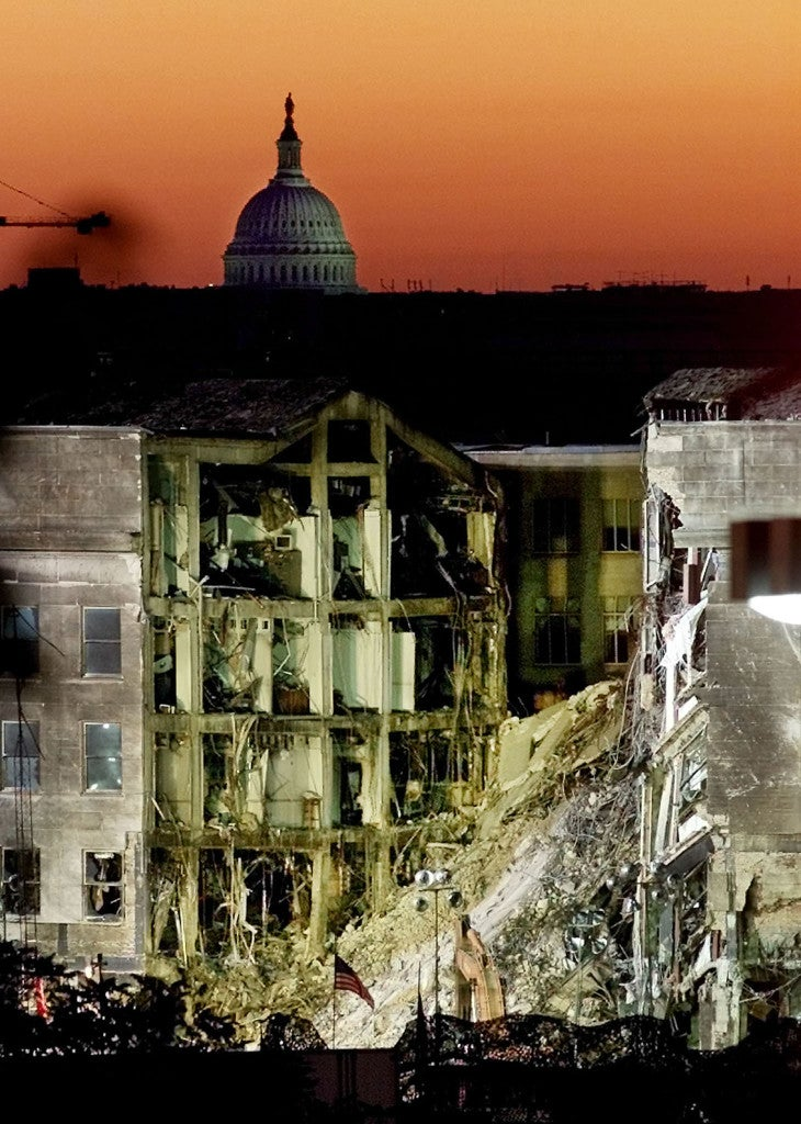 Six days after the attack on the Pentagon at sunrise, September 17, 2001. (Photo: REUTERS/Larry Downing/Newscom)