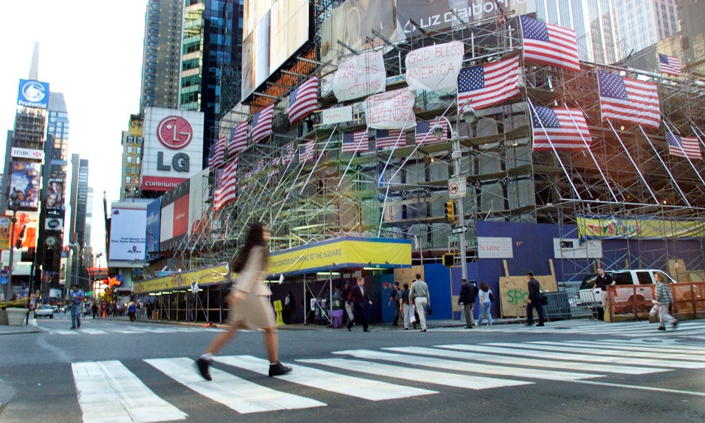 The streets in Times Square during the normal morning rush hour are quiet as the city slowly attempts to return to normal, September 13, 2001. (Photo: REUTERS/Gary Hershorn/Newscom)