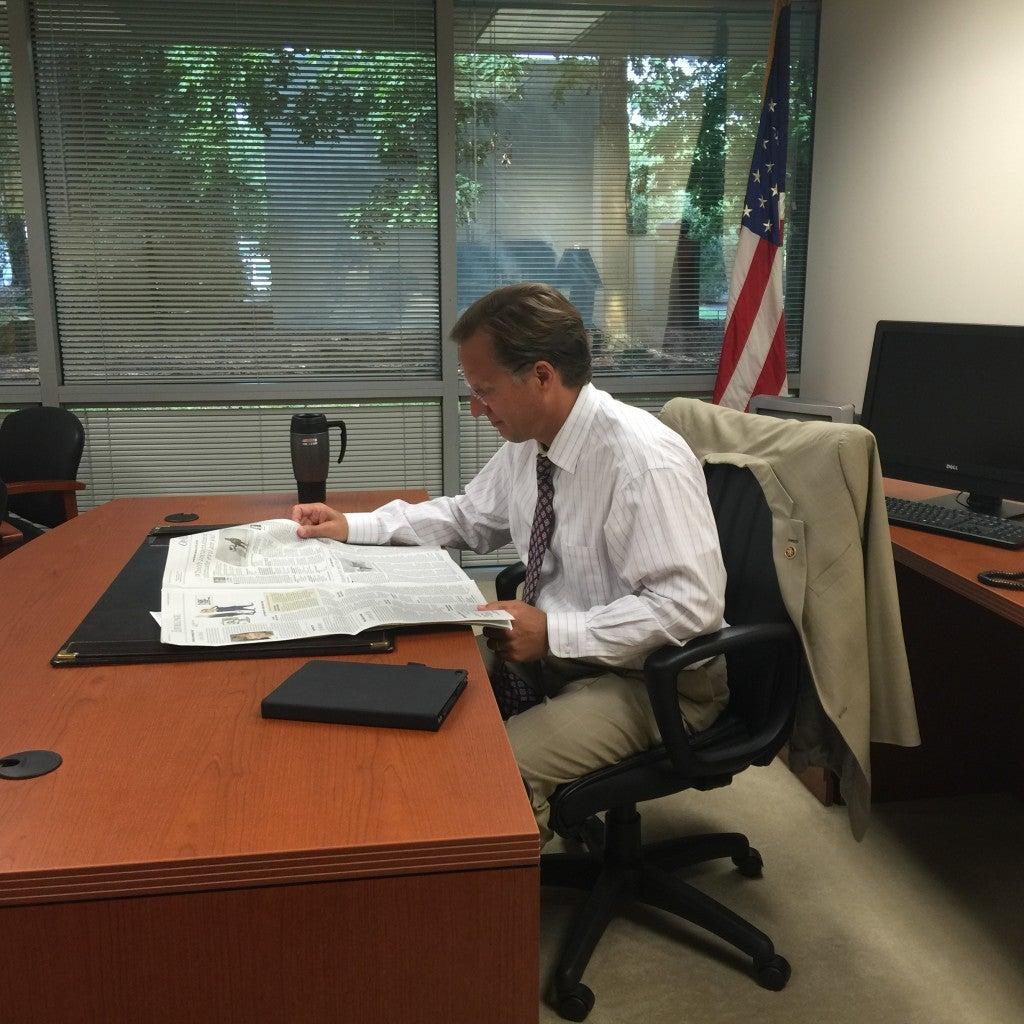 Rep. Dave Brat, R-Va., sits in his Glen Allen, Va., office. (Photo: Melissa Quinn/The Daily Signal)