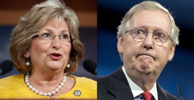 Rep. Diane Black, R-Tenn., criticized Senate Majority Leader Mitch McConnell over defunding Planned Parenthood. (Photos: Tom Williams/CQ Roll Call/Newscom and Ron Sachs/ZUMA Press/Newscom)