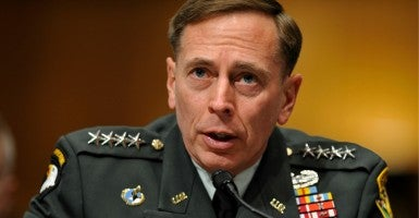 Former CIA Director David Petraeus explained his strategy for the United States to escalate military involvement in Iraq and Syria in front of the Senate Armed Services Committee Tuesday. (Matthew Cavanaugh/EPA/Newscom)
