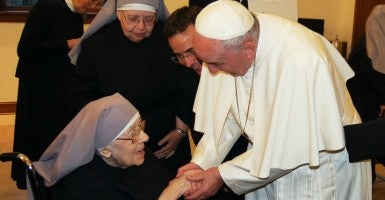 During his visit to Washington, D.C., Pope Francis made an unscheduled stop to visit the Little Sisters of the Poor, an order of Catholic nuns who care for the elderly poor that have filed a lawsuit against the Obama administration. (Photo: The Becket Fund)