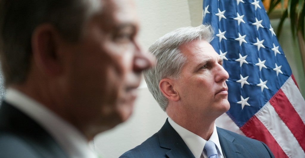 After House Speaker John Boehner (left) announced that he will resign next month, reports claim Rep. Kevin McCarthy (right) could be one of several contenders for the position. (Photo: Tom Williams/CQ Roll Call/Newscom)