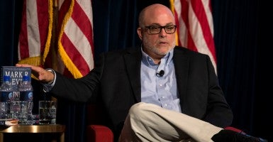 "Conservative commentator and radio talk show host Mark Levin spoke at the Values Voter Summit Saturday and informed attendees of the ""problem"" with House Speaker John Boehner's resignation. (Photo: Brian Cahn/ZUMA Press/Newscom)"