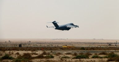 An Air Force C-17 takes off from an undisclosed base in the Persian Gulf region. (Photo: Nolan Peterson/The Daily Signal)