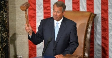 Speaker of the House John Boehner, R-Ohio, holds the gavel after being re-elected as the speaker during the first day of the 114th Congress, inside the House Chambers of the U.S. Capitol Building in Washington, D.C., on Jan. 6, 2015. (Photo: Kevin Dietsch/UPI/Newscom)