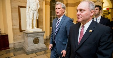 House Majority Leader Kevin McCarthy, left, and Majority Whip Steve Scalise are looking to move up the ranks in House GOP leadership. (Photo: Bill Clark/CQ Roll Call/Newscom)
