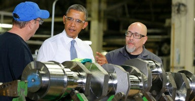 General Electric announced earlier this week it will be closing its facility in Waukesha, Wis., and moving to Canada because of the Export-Import Bank's expiration. President Obama visited the plant in January 2014. (Photo: Larry Downing/Reuters/Newscom)