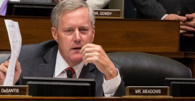 Rep. Mark Meadows, R-N.C., questions Cecile Richards, president of Planned Parenthood Federation of America, in a Sept. 29 committee hearing. (Photo: Jeff Malet/Newscom)