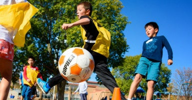 Third graders at Concord Elementary in Edina participate in organized soccer during recess.  A new form of structured play is being offered during recess in area schools, including two elementary schools in Edina. A nonprofit called Playworks brings in recess coaches to organize stations and ensure that kids aren't feeling excluded. Kids are free to participate or do their own thing. (Photo: Glen Stubbe/ZUMA Press/Newscom)
