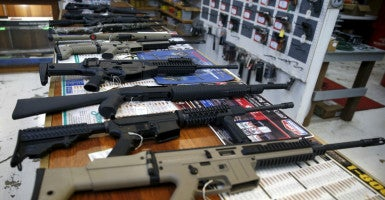 Guns for sale are displayed in a gun shop in Roseburg, Oregon. After the recent tragedy at Umpqua Community College, many residents say they would like to own a gun. (Photo: Lucy Nicholson/Reuters/Newscom)