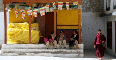 Tibetan refugees outside a monastery in Leh. (Photo: Nolan Peterson/The Daily Signal)