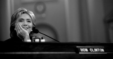 Former Secretary of State Hillary Clinton testifies before the House Select Committee on Benghazi. (Photo: Douliery Olivier/ABACA/Newscom)