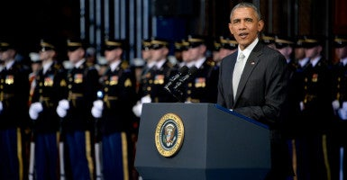 President Barack Obama speaks during a farewell tribute for Secretary Chuck Hagel at Conmy Hall on Joint Base Myer-Henderson Hall Jan. 28 in Arlington, Virginia. Obama vetoed a defense bill that would have added $38 billion into a military account Thursday. (Photo: Ssgt. Laura Buchta/ZUMA Press/Newscom)
