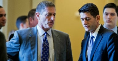 Observers wonder whether Capitol Hill veteran Dave Hoppe, left,  will convince House Speaker Paul Ryan, right, not to support a change in filibuster rules.  (Photo: Tom Williams/CQ Roll Call/Newscom)