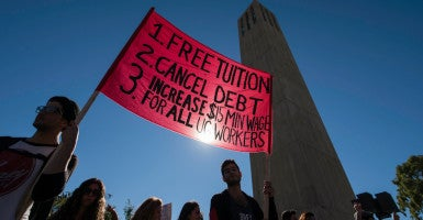 A Million Student March organizer struggled to answer questions regarding how the goals of the movement would be compensated during an interview Thursday. The movement calls for free public college tuition, the canceling of student debt, and a $15 per hour minimum wage for students working on campus. (Photo: Kenneth Song/News-Press/ZUMA Press/Newscom)