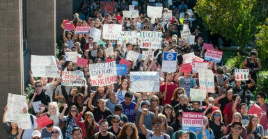 Hundreds of students march down North Hall on UCSB during the Million Student March on Nov. 12. (Photo: Kenneth Song/News-Press/ZUMA Press/Newscom)