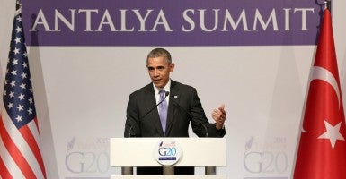 "President Barack Obama defended his remarks that ISIS has been ""contained"" during remarks to the press in Turkey on Monday. (Photo: Depo Photos/ZUMA Press/Newscom)"