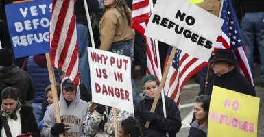 Protesters rally at the Washington state Capitol in Olympia against the U.S. accepting hundreds of Syrian refugees. (Photo: David Ryder/Reuters/Newscom)