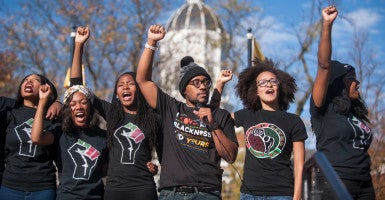 Demonstrators call for 'solidarity' and 'power' Nov. 9 after a protest by the group called Concerned Student 1950 at the University of Missouri. (Photo: Michael Cali/TNS/Newscom)