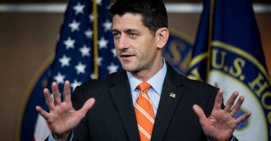 House conservatives say they don't fault Speaker Paul Ryan for shutting down regular order to pass a timely bill on Syrian refugees.       (Photo: Bill Clark/CQ Roll Call/Newscom)