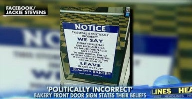 Schuler's Bakery posted signs outside of its four Ohio locations stating that it is not politically correct. (Photo: Fox News)