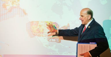 'You really can't grasp just how bad it's gotten': Rep. Louie Gohmert, R-Texas, shows how  a new Federal Footprint Map works during an event Monday at The Heritage Foundation. (Photo: Tom Williams/CQ Roll Call/Newscom)