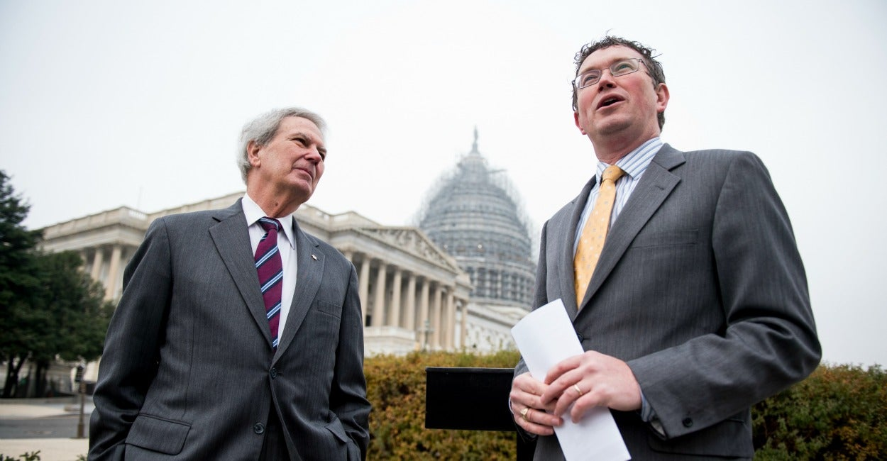Reps. Walter Jones, R-N.C., left, and Thomas Massie, R-Ky., were two of nine Republicans who didn't vote for Paul Ryan as speaker in 2015. (Photo: Bill Clark/CQ Roll Call/Newscom)