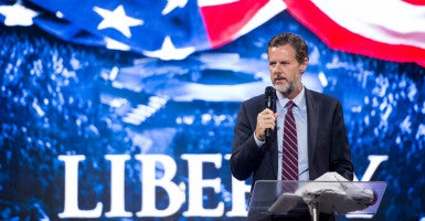 'Let's teach them [terrorists] a lesson if they ever show up here,' Liberty University President Jerry Falwell Jr. said at a recent student gathering.  (Photo: Bill Clark/CQ Roll Call/Newscom)