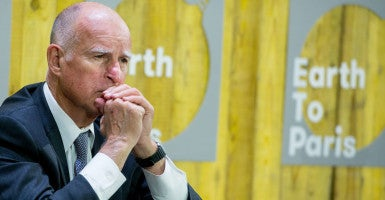 California Gov. Jerry Brown at the climate talks in Paris. (Photo: Benjamin Girette/IP3/Newscom)