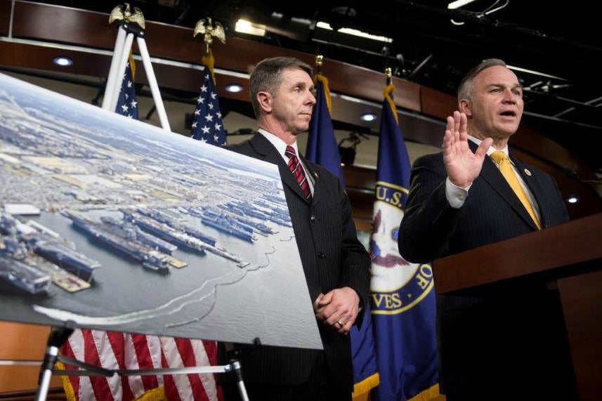 Reps. Robert Wittman and Randy Forbes, both R-Va., have questions about taxpayer-subsidized academics who promote President Obama's agenda on global warming. (Photo: Bill Clark/CQ Roll Call/Newscom)