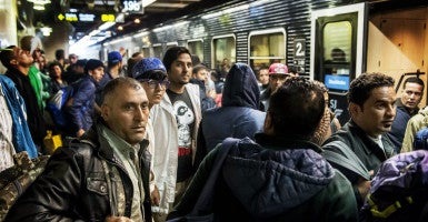 A train with Syrian refugees arrives at Stockholm Central Station in Sweden. (Photo: Zuma Press/Newscom)
