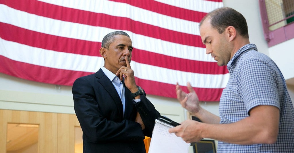 President Barack Obama talks with Ben Rhodes. (Photo: Amanda Lucidon/The White House