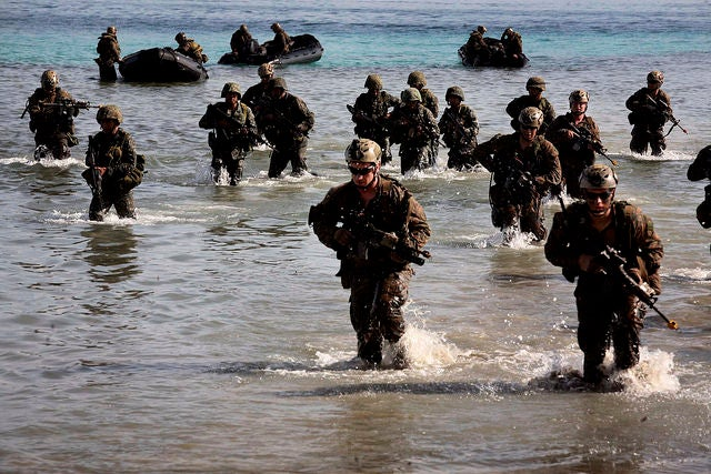 Philippine and U.S. Marines simulate a beach landing from combat rubber raiding crafts onto a small island off the coast of Palawan, Philippines. (Photo: gt. Anthony J. Kirby/Released)