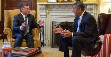 Speaker John Boehner meets with His Majesty King Abdullah II of Jordan in his office at the U.S. Capitol.  (Official Photo by Caleb Smith)