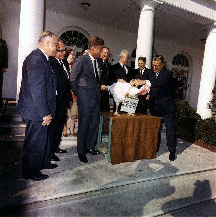 Presentation of a Thanksgiving turkey to John F. Kennedy in 1963.  (Photo: Archives/Kennedy Presidential Library)